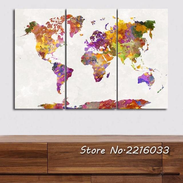 Wonderbaar Drieluik Canvas Abstract Wereldkaart Schilderen Foto Moderne US-14