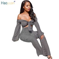 HAOYUAN Black White Striped Sexy Two Piece Set Outfit 2018 Off Shoulder Crop Top And Wide