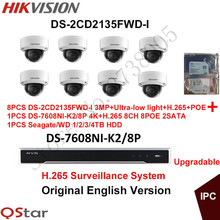 Hikvision English CCTV Security System 8xDS-2CD2135FWD-I 3MP H.265 Ultra-low light IP Camera POE+4K NVR DS-7608NI-K2/8P H.265