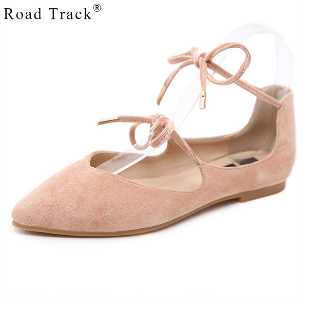 649bd8c0f07 Road Track Platform Flat Shoes For Women Pointed Flats Flock Elegant Narrow  Band Ankle Strap Ballerina Shoes XWA1186-5