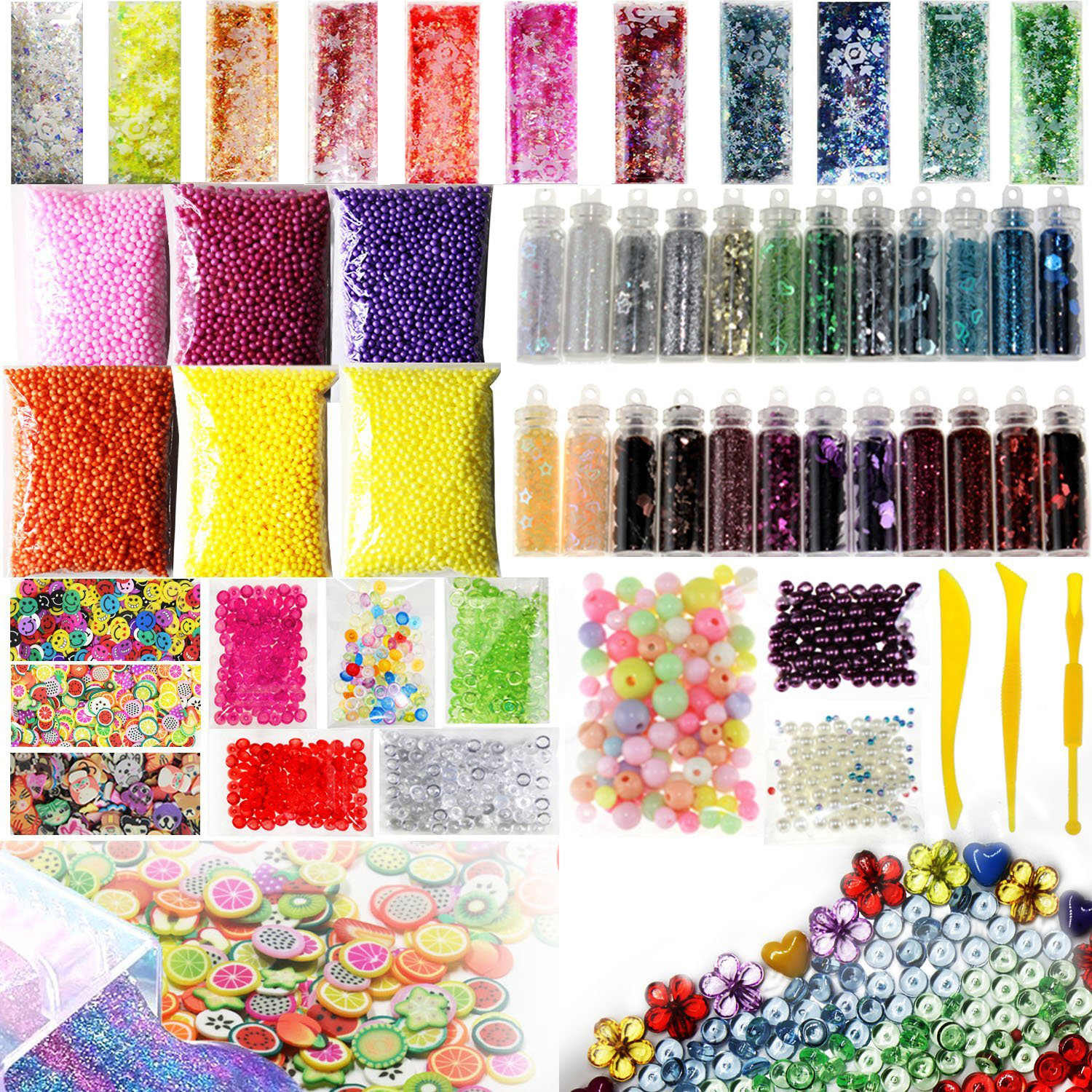 55 Pack Making Kits Supplies for Slime, Including Foam Balls, Fishbowl Beads, Net, Glitter Jars, Pearls, Sugar Paper, Spoon