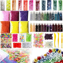 55 Pack Making Kits Supplies for Slime, Including Foam Balls, Fishbowl Beads, Net, Glitter Jars, Pearls, Sugar Paper, Spoon(China)