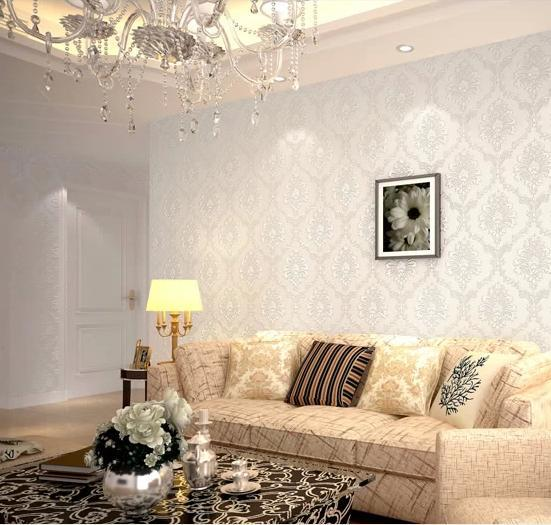 Buy modern damask feature wallpaper wall for Wallpaper for feature wall living room