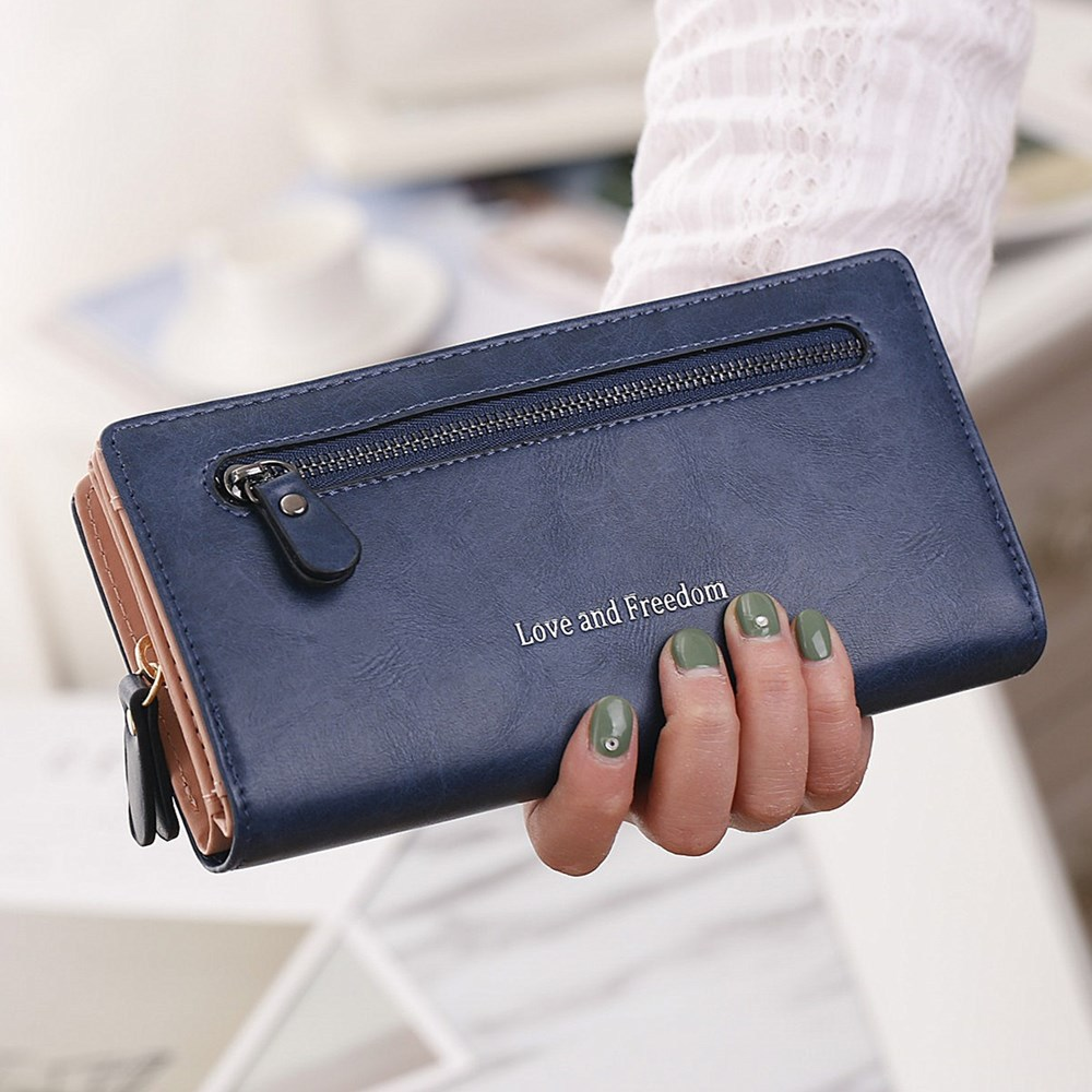 NEW Leather Women Wallet Coin Pocket Hasp Card Money Bags Soft Holder Casual Ladies Clutch Wallet Long Female Purse HC144