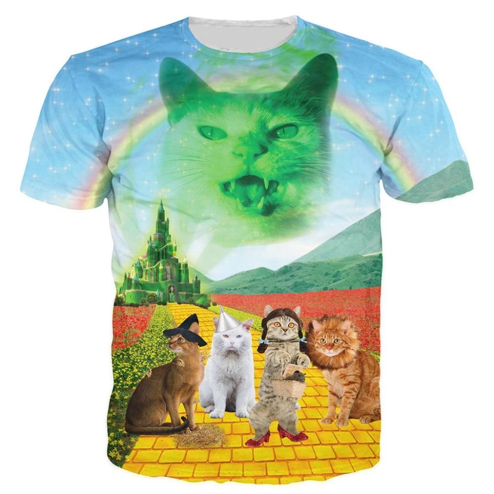 2019 3d Print Casual Tees Men/Women Wizard of Paws   T  -  shirt   Destry Cat Worried Cat   T  -  shirts   Short Sleeve   T     shirt   Dropship