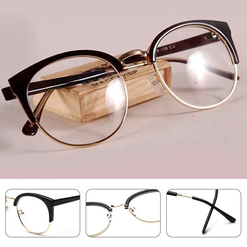 3e53d1d23c53 Women Stylish Cat Eye Semicircle Frame Optical Glasses Lightweight Metal+ Plastic Anti-Radiation Goggles