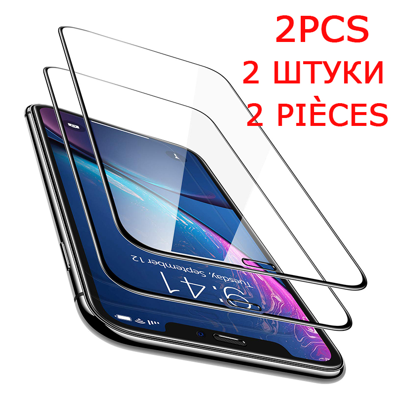 2PCS Tempered Glass For <font><b>iphone</b></font> 7 8 6 <font><b>6S</b></font> Plus trempe <font><b>ecran</b></font> protecteur Glass on For <font><b>iphone</b></font> X XS Max XR Screen Protector Glass Film image