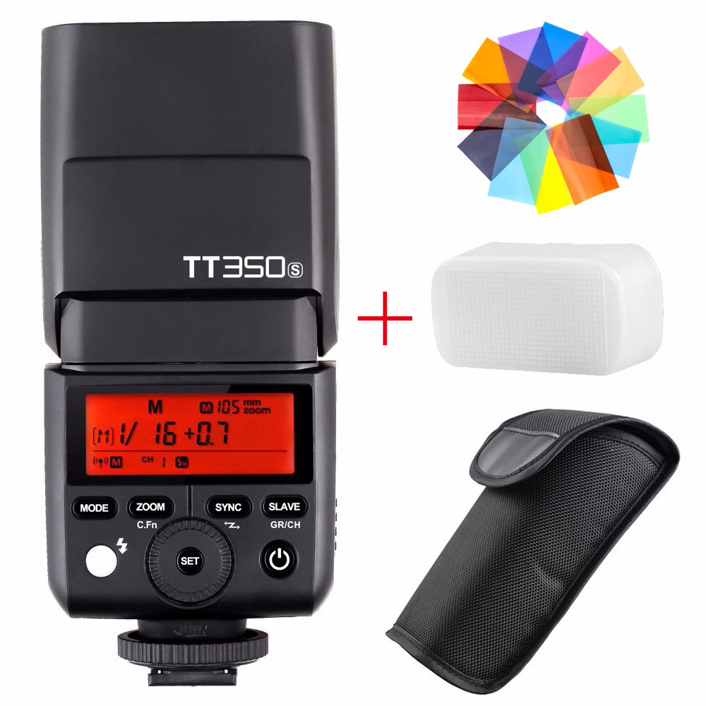 Godox TT350S 2.4G HSS TTL GN36 Wireless Speedlite Flash for Sony A7 A7R A7S A7 II A7R II A7S II A6300 A6000 + Color Filter godox tt600s flash speedlite for sony multi interface mi shoe cameras a7 a7s a7r a7 ii a6300 etc