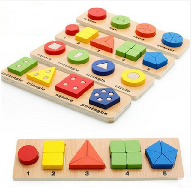 Children Wooden Educational Toys Montessori Math Geometric