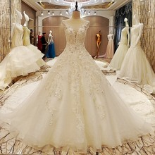 WONDMOND Luxury Wedding Dress A Line V Neck Bridal Beads