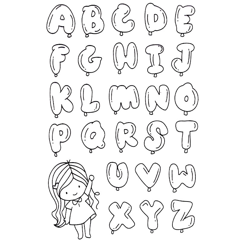 BUBBLE ALPHABET CUTE GIRL scraspbook diy photo cards
