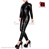 Black Sexy Rubber Full Inflatable catsuit zip back jumpsuit Latex Catsuit overall jumpsuit body suit bodysuit zentai LT 083