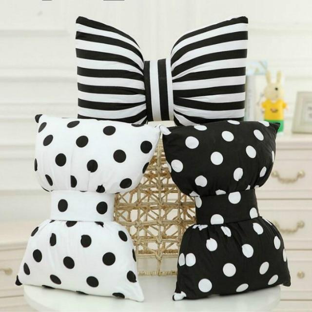 Sáng tạo Bông Polka Dot tie gối Bow gối đen trắng sọc giọt sofa Đệm có thể tháo rời có thể giặt Đầu Xe gối