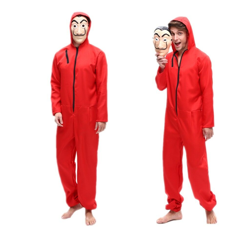 Salvador Dali Movie The House Of Paper La Casa De Papel Cosplay Money Heist Costume With Face Mask Red Jumpsuit Hoodie Halloween