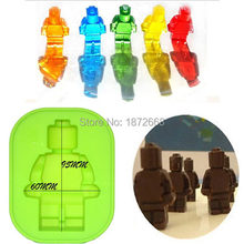 Free Shipping Christmas Lego New Robot People Figure Silicone Mould Chocolate Cake Baking Fondant Decorating ice cube tray 5pcs(China)