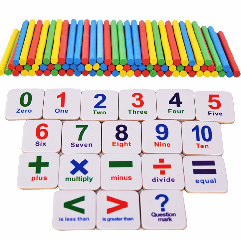 1Set Wooden Sticks Math Learning Toy Magnetic Numbers Blocks Baby ...