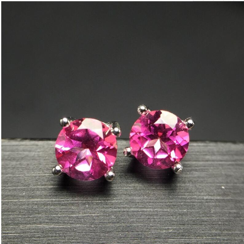 Natural Pink topaz earring Free shipping Natural real Pink topaz 925 sterling silver 6*6mm natural alphabet n pink