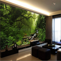 Custom Natural Sunlight Green Eye Forest Landscape Wallpaper Bedroom Living Room TV Background Wallpaper Customized Large