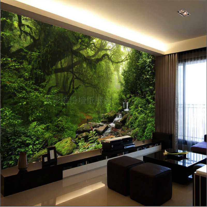 photo 3D wallpaper Custom natural sunlight green eye forest landscape wall paper for wall 3D bedroom for living room background forest stream sunlight waterproof wall hanging tapestry
