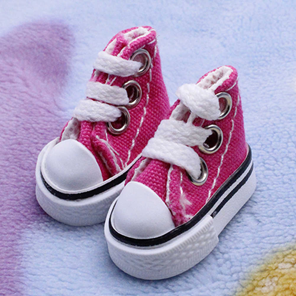 1 Pair Toy Accessories Toy Baby Sneakers Joint DIY Canvas Girl Boy Fashion Mini Doll Shoes Lace Up Gift Handmade