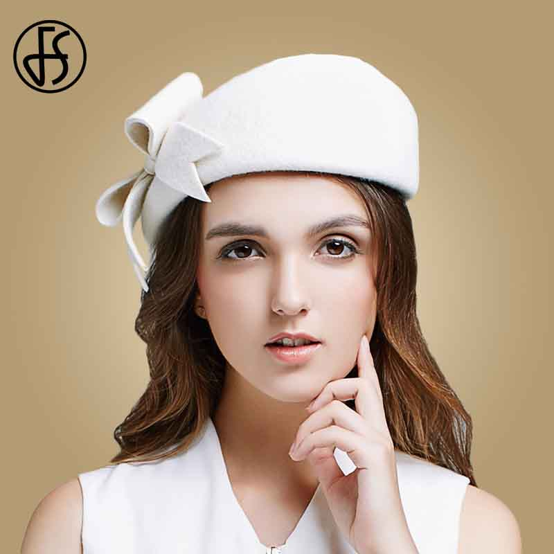 c0e4ab9bb US $29.63 22% OFF|FS Lady Black White Wool French Beret Hat For Women  Autumn Winter Vintage Fascinator Bowknot Felt Flat Brim Fedora Hats-in  Women's ...