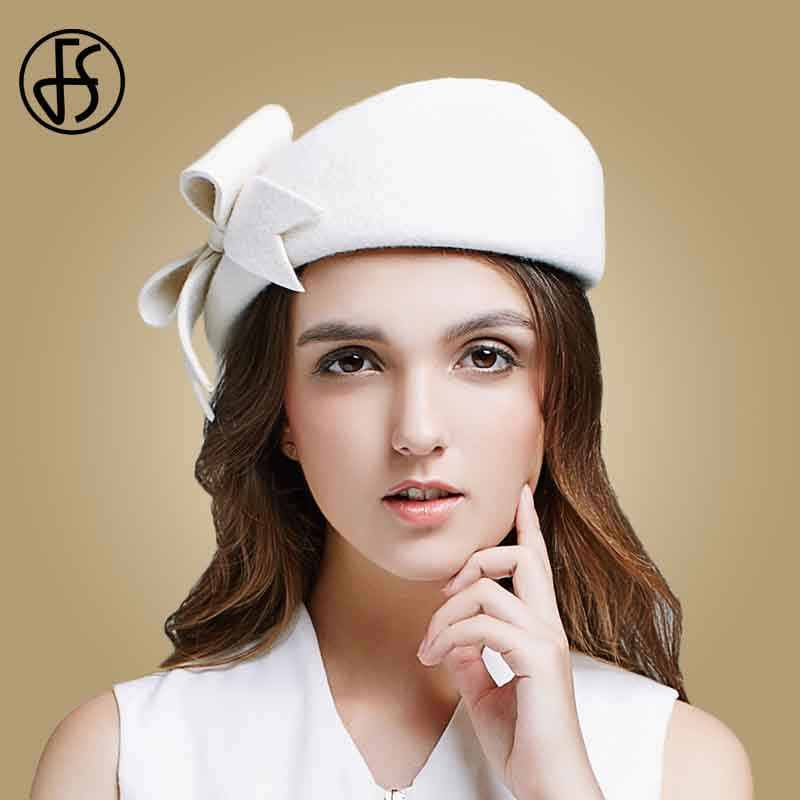 26eb35a8 FS Lady Black White Wool French Beret Hat For Women Autumn Winter Vintage  Fascinator Bowknot Felt