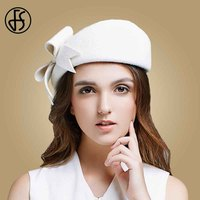 FS Lady Black White Wool French Beret Hat For Women Autumn Winter Vintage Fascinator Bowknot Felt Flat Brim Fedora Hats