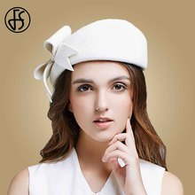 01ad285b392d7 FS Lady Black White Wool French Beret Hat For Women Autumn Winter Vintage  Fascinator Bowknot Felt