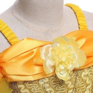 Image 4 - Dziewczyny Belle sukienka księżniczka dziewczyna Off ramię bajka Cosplay impreza z okazji halloween sukienki dziecięca suknia balowa akcesoria do kostiumów