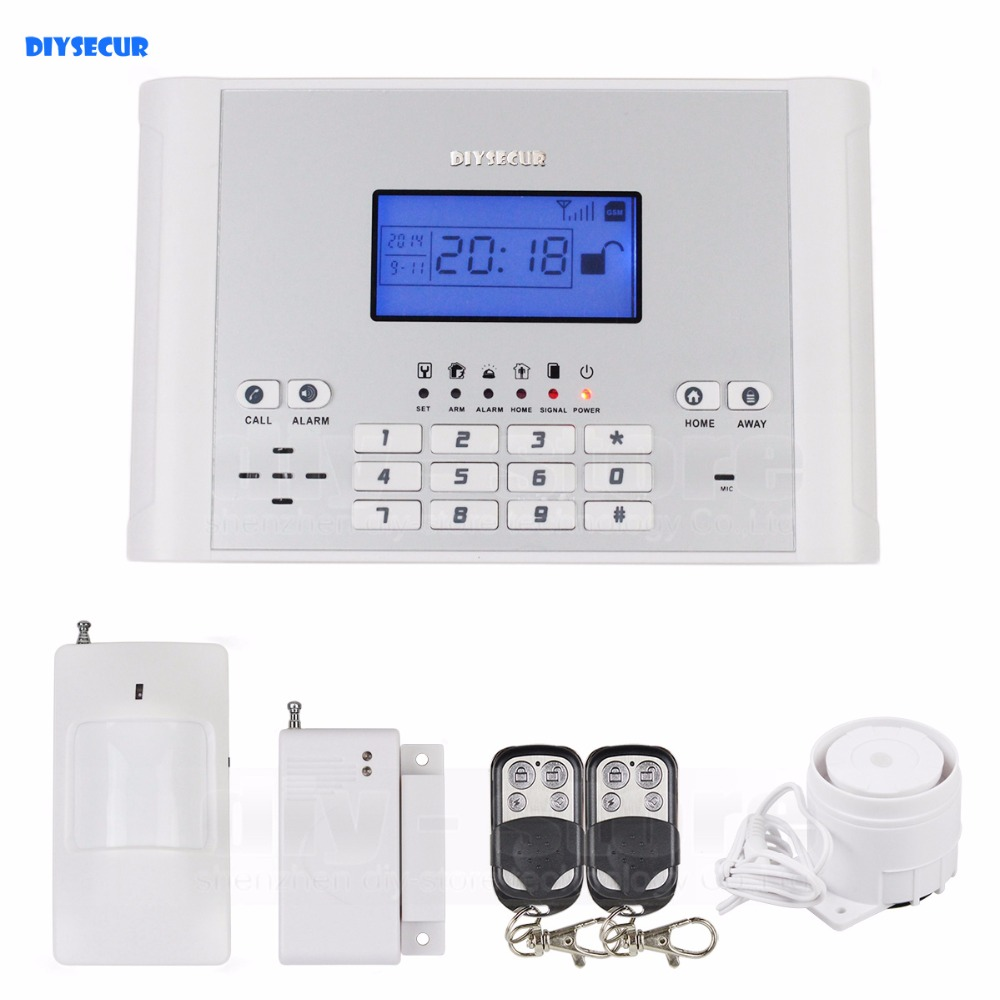 DIYSECUR Wireless/Wired Defense Zones GSM SMS Intruder Security Alarm System Kit Auto-dial for House Office стоимость