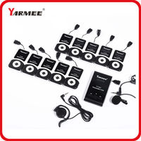 YARMEE VHF Frequency Wireless Tour Guide System 60m Operating Range 2 Transmitter 30 Receivers Charger Case