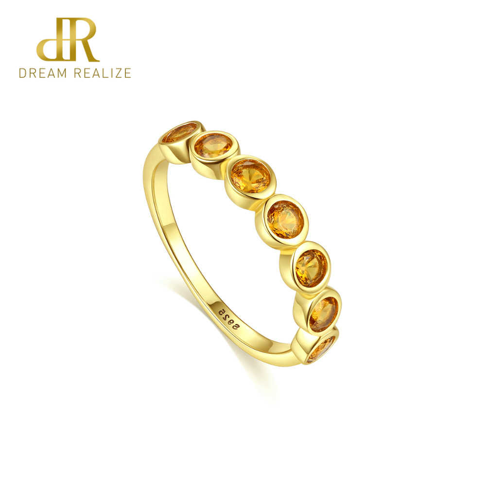 DR Real 925 Sterling Silver Eternity Rings for Women Engagement Wedding Fine Jewelry Round Topaz Gemstone Bague Femme S925 Ring