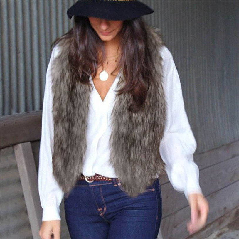 Women Lady Warm Winter Faux Fur Vest Female Warm Waistcoats Outwear Jackets Chalecos De Pelo Mujer Veste Colete Feminino #ZD3340