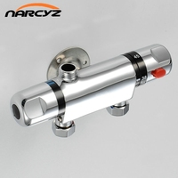 Wall Mounted Two Handle Thermostatic Shower Mixer Thermostatic Faucet Shower Taps Chrome Finish AL 808