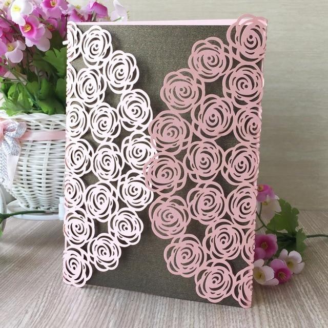 50pcs glossy paper love rose wedding invitations decoration place