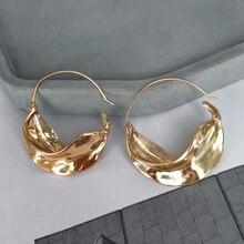 486186cb2d80 Pendientes de aro de hoja Irregular de Color plateado dorado SRCOI para  mujeres pendientes de declaración geométricos redondos j.