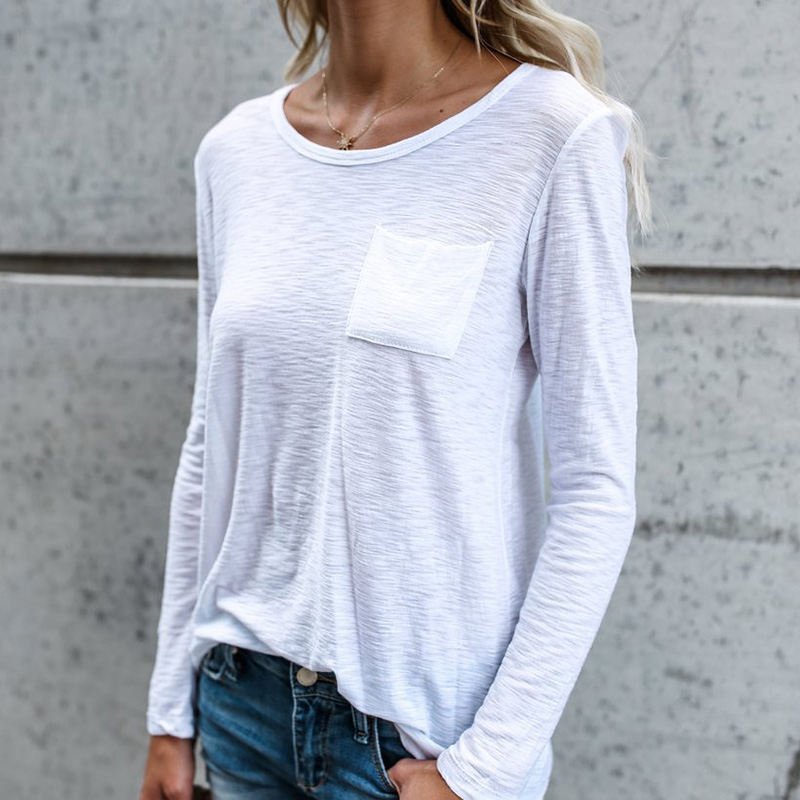 La Kabetty White Casual T Shirt Women Long Sleeve Round Neck Cotton Tee Shirts Ladies Elegant