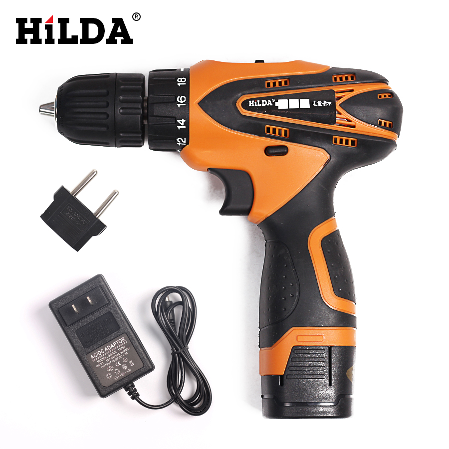 HILDA 16.8V Lithium Battery Electric Drill Cordless Screwdriver Electric screwdriver Power Tools free shipping brand proskit upt 32007d frequency modulated electric screwdriver 2 electric screwdriver bit 900 1300rpm tools