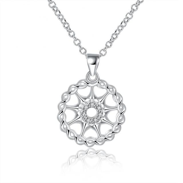 Drop shippingtop quality silver sun shape crystal round circle top quality silver sun shape crystal round circle pendant necklace jewelry lady necklace mozeypictures Image collections