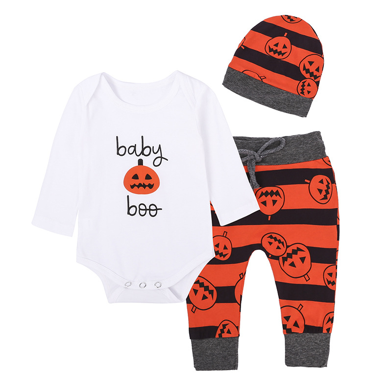 2017 Sale Winter Romper Fantasia Infantil Baby Girl Family Sayings long Sleeve Romper+pants+hat Halloween Pumpkin 3pcs/set