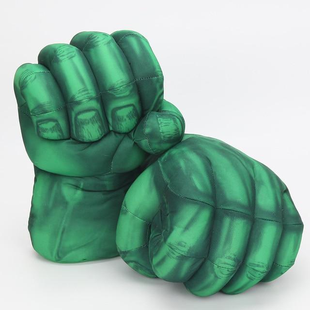 Vingadores de Super-heróis Hulk Mãos Quebra Spider Man Homem De Ferro Verde Boxe Luvas Performing Props Brinquedos de Pelúcia 10''