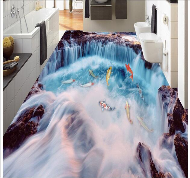 3 d pvc flooring custom photo mural wall sticker The waterfall carp painting picture room wallpaper for walls 3d customize wallpaper for walls 3 d swan lake picture in picture 3d tv backdrop 3d photo wall mural 3d landscape wallpaper