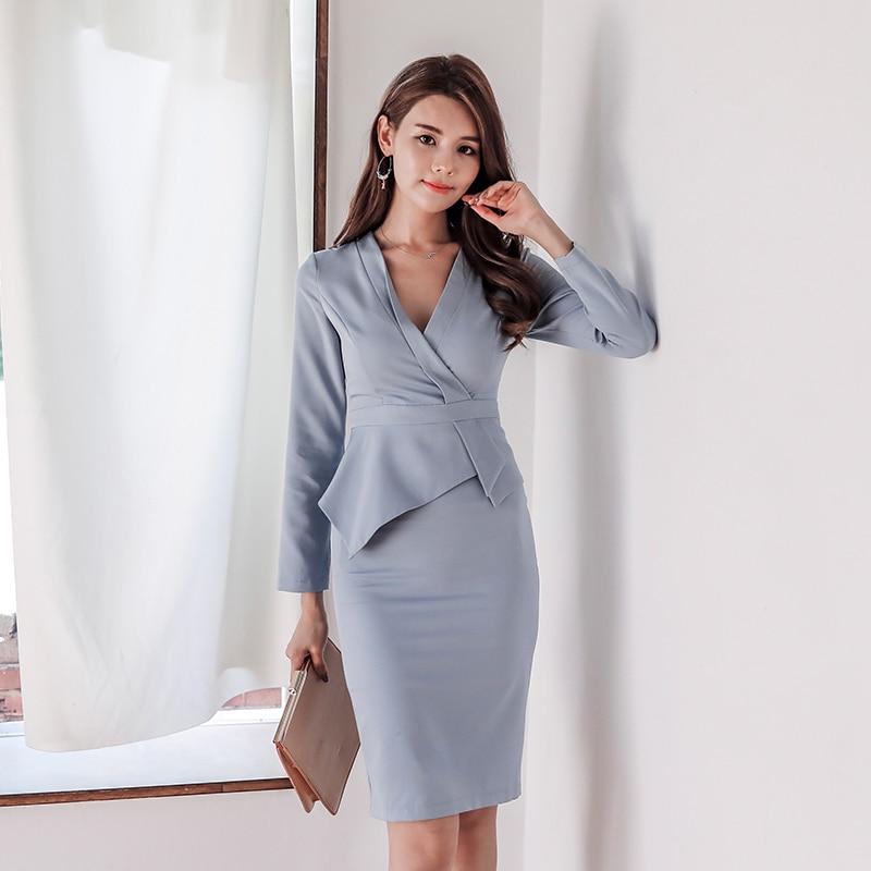 fca6fbcb0c82a Elegant V-neck Full Sleeve Mid-length Women Dress 2018 Autumn OL Style Slim  Female Vestidos Work Business Party Pencil Dress