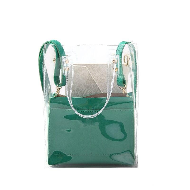 Прямая поставка Для женщин сумочки бренд прозрачные сумки Сумка + сумка + клатч Карамельный Цвет Желе композитный для девочек-подростков
