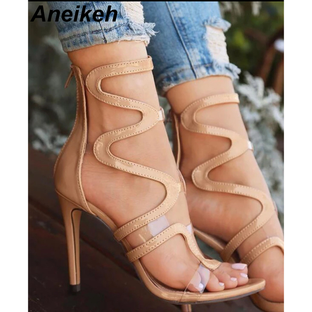 cc341319c Aneikeh Clear Straps Patchwork Women Black Nude Patent Leather Sandals Sexy  Open Toe Ladies Cut