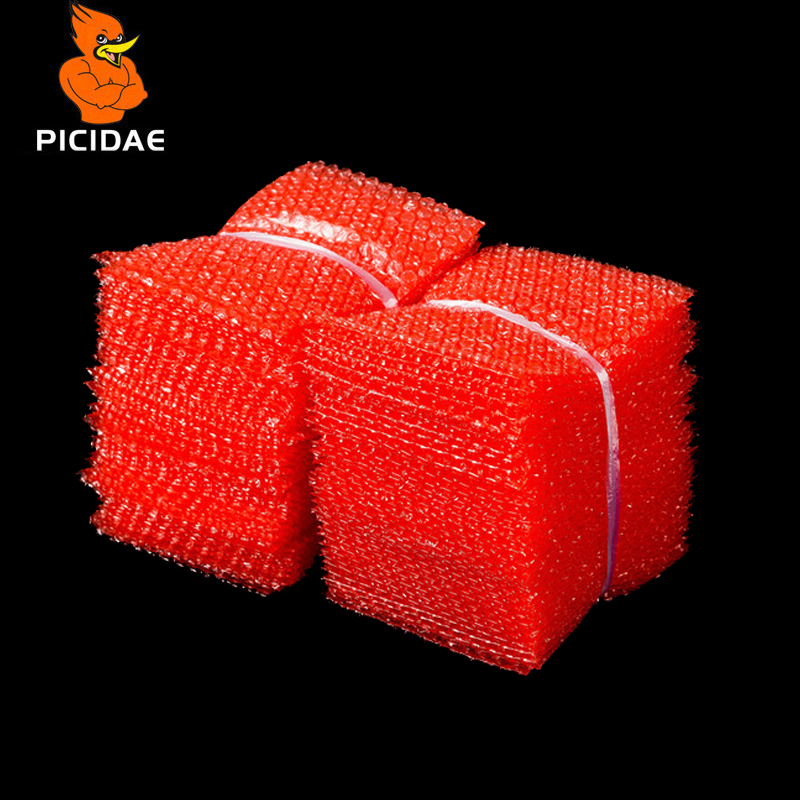 Red Color Double Film Bubble Bags / Plastic PE two 2 layer Packing Amplop / Anti-statik Shockproof Padded Pouches Bubble Bag
