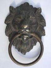 Chinese Old Bronze Fierce Lion Head Door Knocker 4.4 High decoration bronze factory outlets