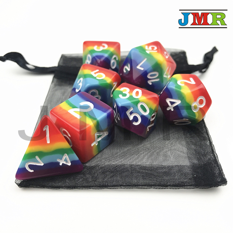 High Quality 7pcs/set Polyhedral Dungeons and Dragons Dice,for Dados Rpg Rainbow Dice Playing,as Dnd Board Game Accessories цена 2017