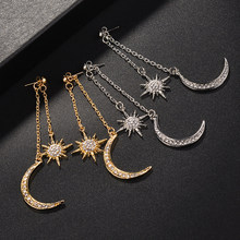 Fashion Crystal Star Moon Earrings Silver /Gold Color Dangle Earrings for Women Fashion Jewelry Brincos pendientes mujer moda(China)