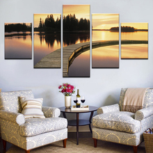 Canvas Art Print Modular Wooden Bridge Painting Poster Wall 5 Panel Sunset Picture For Home Decoration Sea Kids Room Framework sunset wooden bridge waterproof wall tapestry